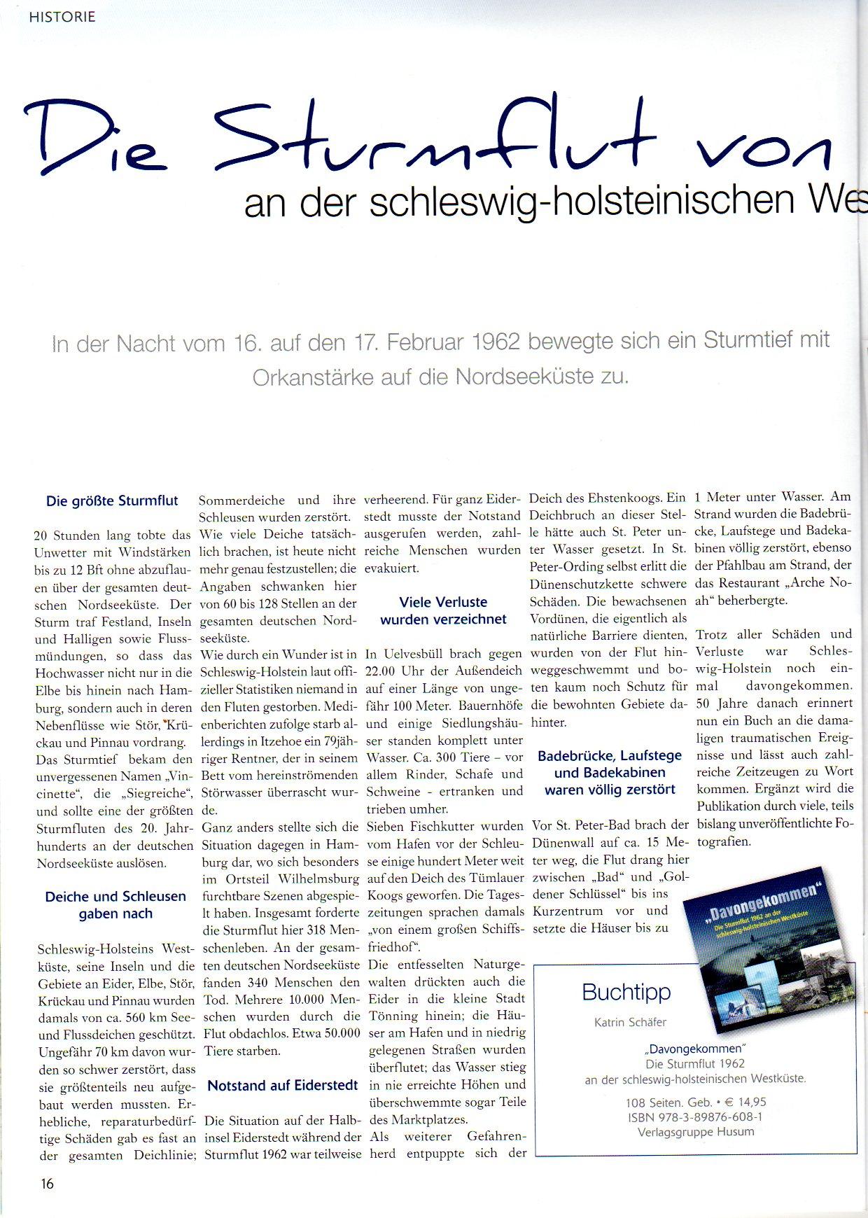 Strandpost Juli 2012 Sturmflut 1962 Artikel Katrin Schäfer